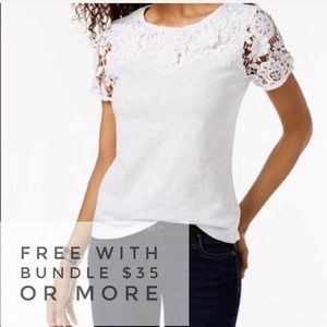 CHARTER CLUB White Illusion Lace Sleeve Tee